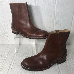 LL Bean Leather Ankle Boot Bootie Brown 8.5 Womens